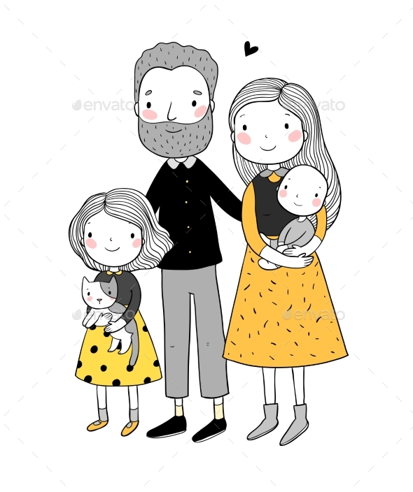 Happy Family Parents with Children