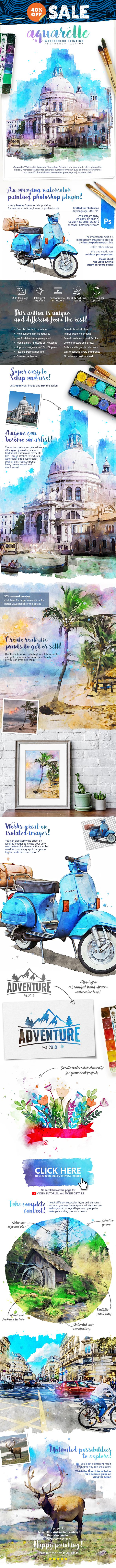 Aquarelle - Watercolor Painting Photoshop Action
