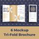 6 Mockups Leafleat DL Trifold Brochure - GraphicRiver Item for Sale