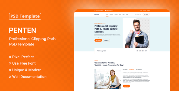 Penten - Professional Clipping Path PSD Template