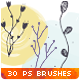 30 Hand-drawn Flowers Vector Doodles Photoshop Brushes - GraphicRiver Item for Sale