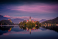 Colorful sunset landscape view of Lake Bled island and church, Slovenia - PhotoDune Item for Sale