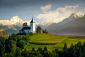 Landscape view of Jamnik church and generic mountains - composite image, Slovenia - PhotoDune Item for Sale