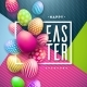 Happy Easter Illustration with Colorful Painted - GraphicRiver Item for Sale