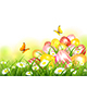 Colorful Easter Eggs in Grass and Butterflies - GraphicRiver Item for Sale