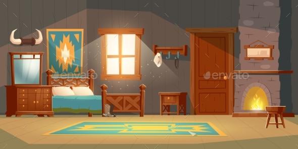 Cowboy Bedroom Interior in Rustic House