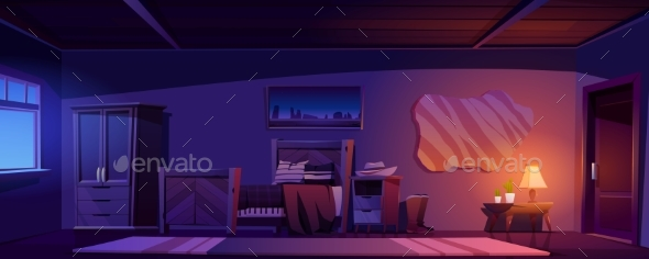 Cowboy Bedroom in Rustic House at Night