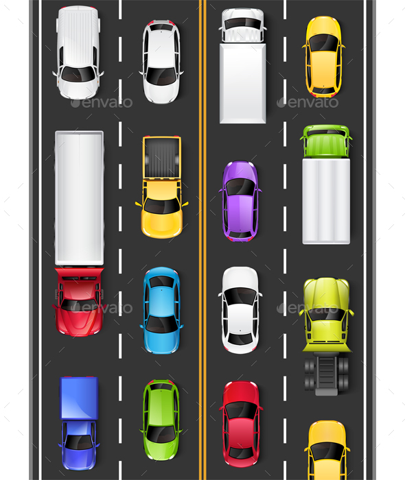 Top View of Cars and Trucks on the Road
