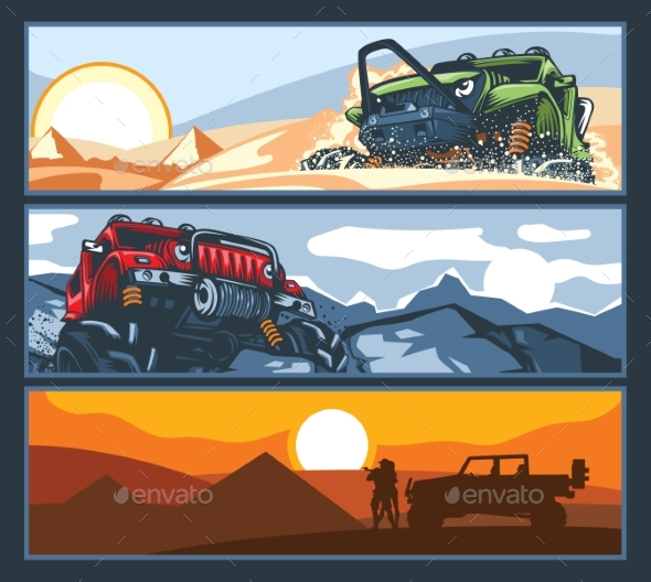 Three Banners with Off-Road Vehicles