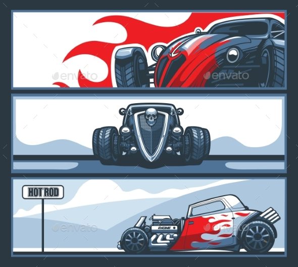 Collection of Three Banners with Hot Rod Cars