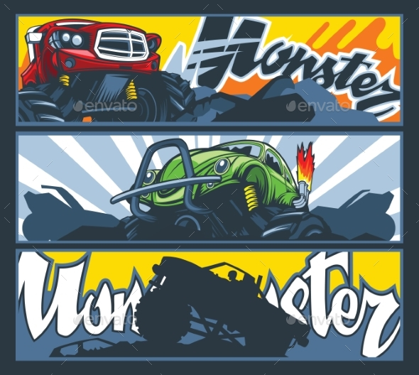 A Collection of Three Banners with Monster Cars