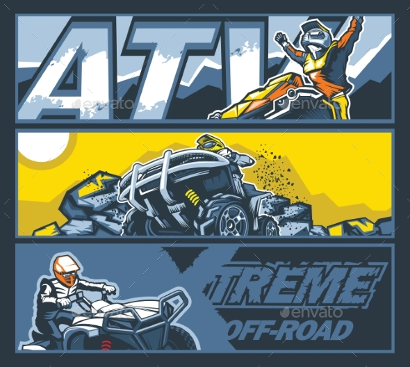 A Collection of Three Banners with ATVs. Vector