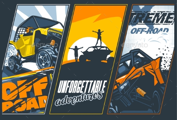 Poster of Three Banners with UTVs Off-Road