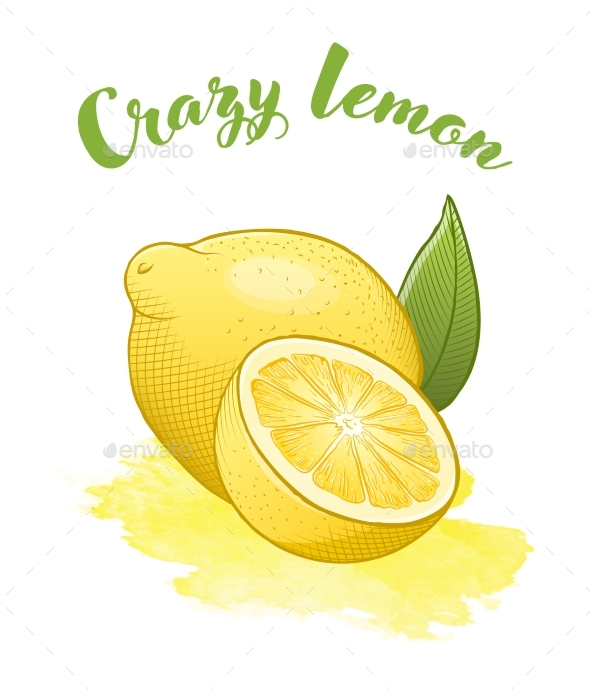 Yellow Bright Lemon on a Watercolor Background