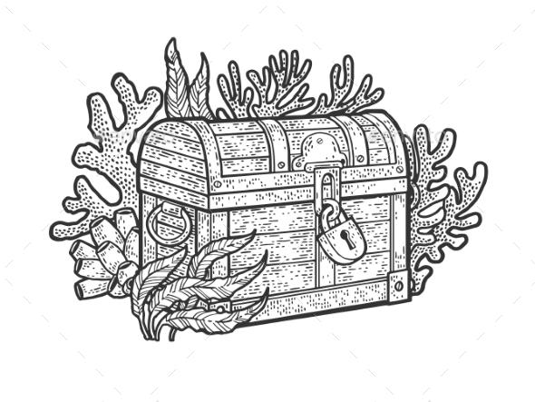 Treasure Chest on Bottom of Ocean Sketch Vector