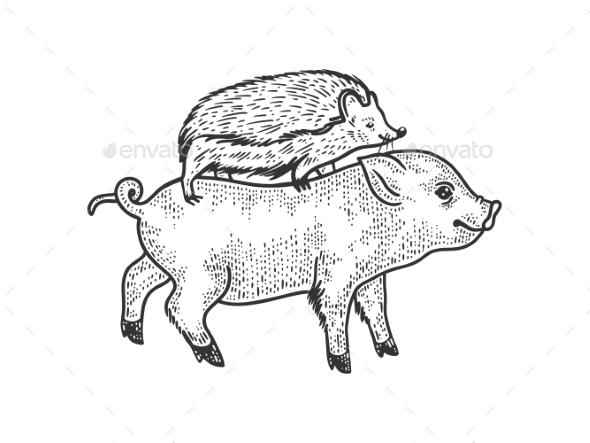 Hedgehog Riding a Pig Sketch Vector Illustration