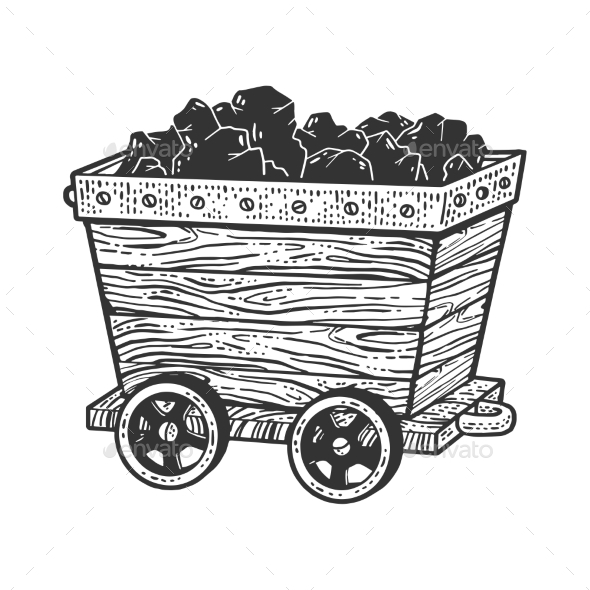 Coal Trolley Sketch Vector Illustration