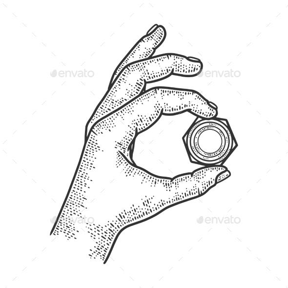 Nut in Hand Sketch Vector Illustration
