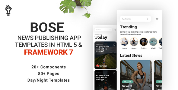 Bose - News Publishing App Template in HTML 5 & Framework 7