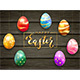 Colored Easter Eggs on Black Wooden Background - GraphicRiver Item for Sale