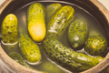 Vintage photo, Fresh prepared homemade pickled cucumbers in clay pot - PhotoDune Item for Sale