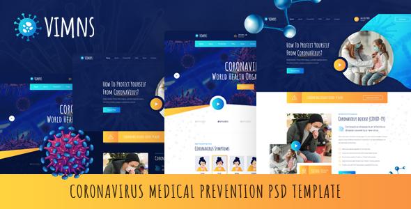 Vimns - Coronavirus Medical Prevention PSD Template