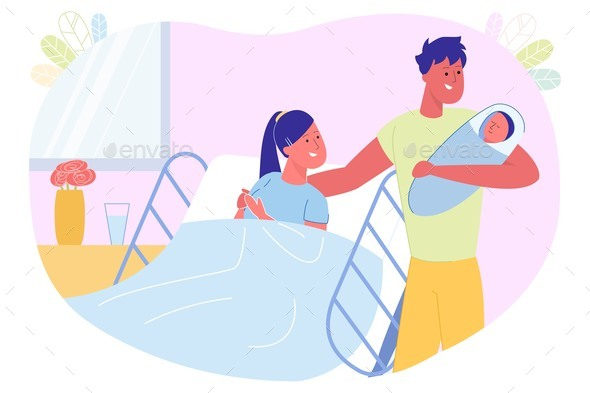 Meeting Father and Newborn Baby in Hospital Ward