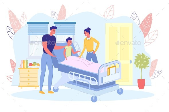 Parents Visit Sick Son in Bed at Hospital Ward