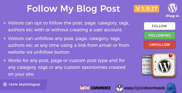 Follow My Blog Post - WordPress Plugin