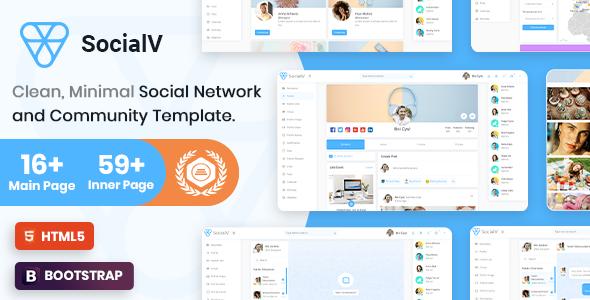 SocialV - Minimal Social Network & Community Admin Template
