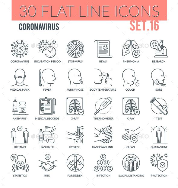 Coronavirus Outline Icons