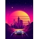 Arcade Space Ship Flying To the Sunset. - GraphicRiver Item for Sale