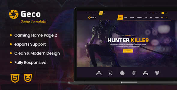 Geco - eSports Gaming HTML5 Template