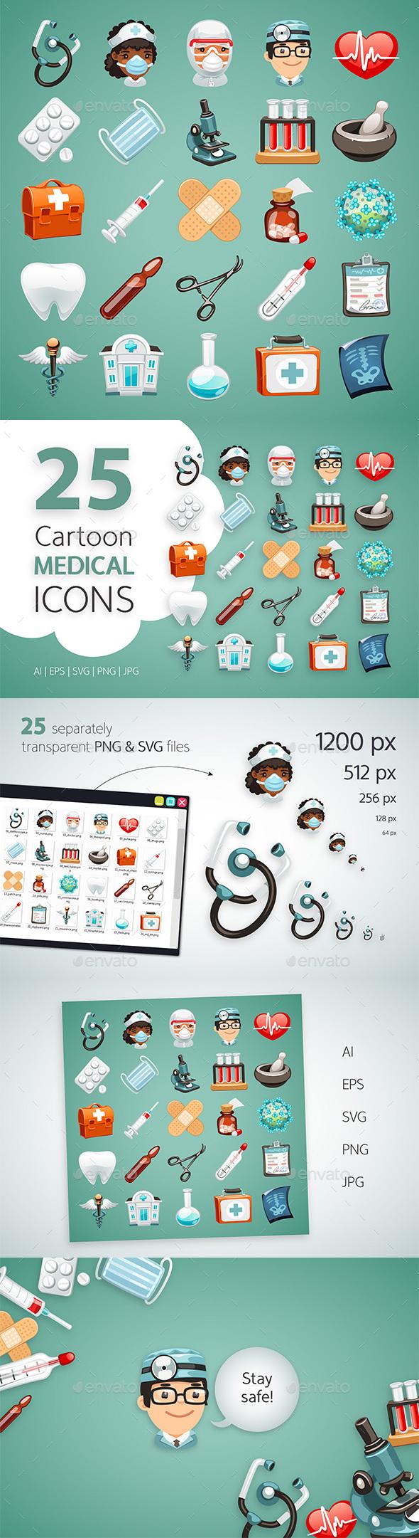 Cartoon Medical Icons Set