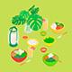 Isometric Vegan Dinner Set - GraphicRiver Item for Sale
