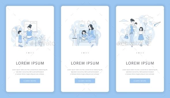 Motherhood and Childhood Mobile App Screens. Mom
