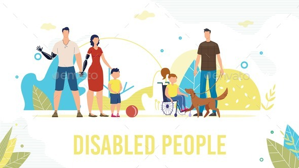 Disabled People Full Life Flat Vector Banner