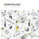Storytelling Isometric Outline Illustration - GraphicRiver Item for Sale