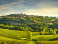 San Gimignano panoramic medieval town towers skyline and vineyards. Tuscany, Italy - PhotoDune Item for Sale