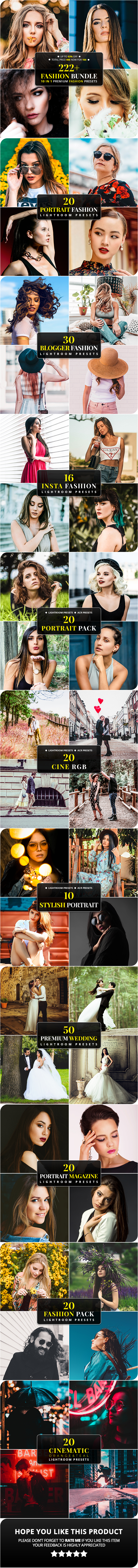 222+ Fashion Bundle Lightroom & ACR Presets