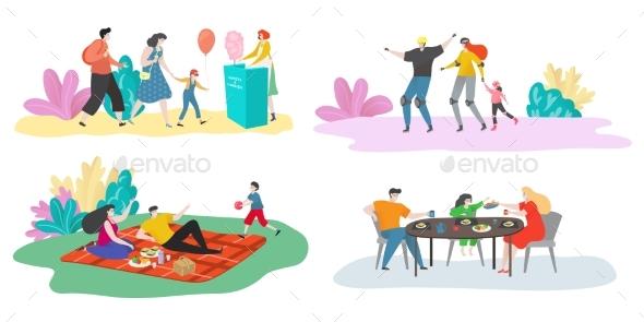 Family Time Vector Illustration Set, Happy Family