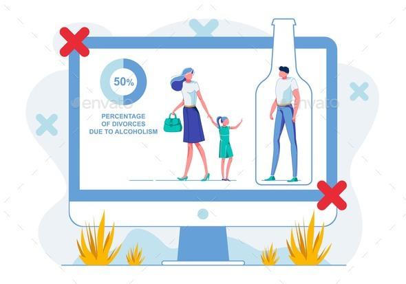 Alcoholism Ruining Families Flat Illustration
