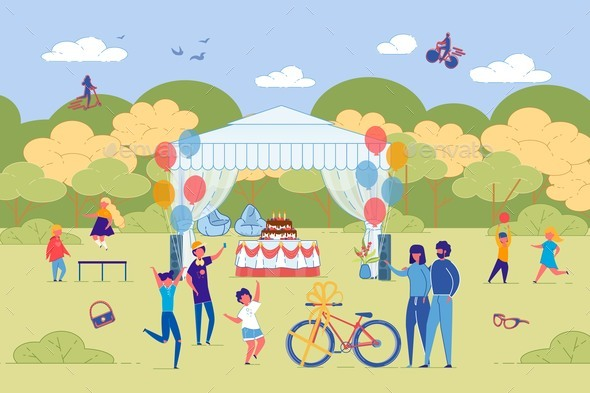 Children Birthday Celebration Outdoor in Park