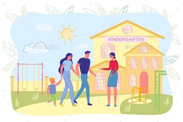 Mother and Father Carrying Kid To Kindergarten