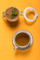 Sweet cold dessert with tea on a colored background - PhotoDune Item for Sale