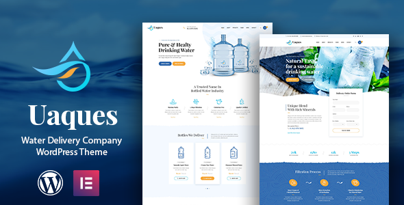 Uaques – Drinking Water Delivery WordPress Theme Preview
