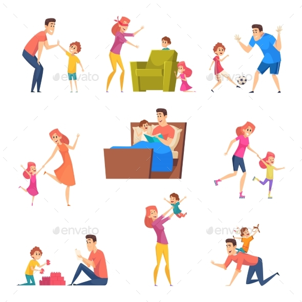 Parents and Kids Children Good Time in Happy