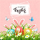 Easter Pink Background with Eggs in Grass and Rabbits - GraphicRiver Item for Sale