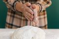 Woman prepares to her home handmade dough for bread, homemade cooking. - PhotoDune Item for Sale