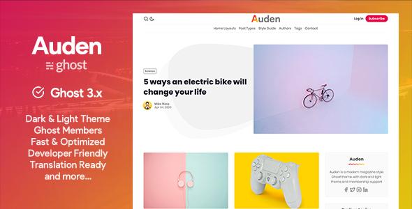 Auden - a Membership Ghost 3.0 Theme